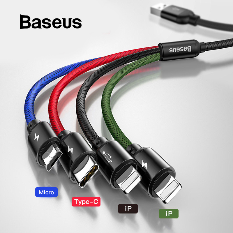 Baseus USB Cable for iPhone Xs Max XR X 4 in 1 Charge Cable USB Type C for Samsung S9 S10 Type C Cable 3 in 1 Micro USB Cable