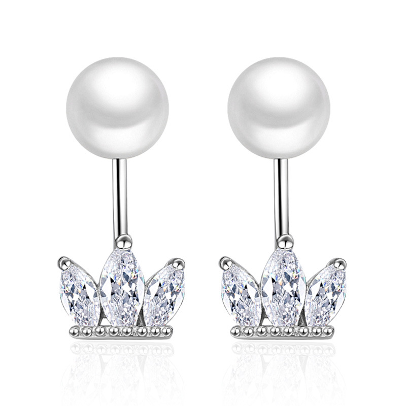 2f00fa68d 100% 925 sterling silver fashion shiny crystal imitation pearl jewelry  ladies`stud earrings wholesale gift Anti allergy cheap
