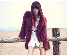 Women's real genuine natural Ostrich Fur Coat Long Wool Fur Overcoat Winter Ostrich Fur Jacket