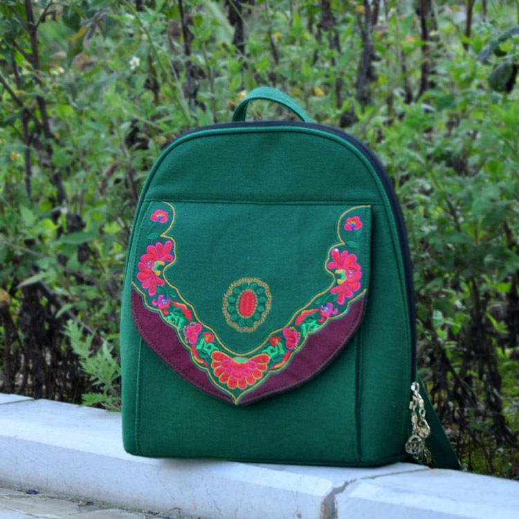Women's backpack!Original National style embroidery embroidered Backpack features ethnic Peony canvas double-shoulder carrybag 2016 summer national ethnic style embroidery bohemia design tassel beads lady s handbag meessenger bohemian shoulder bag
