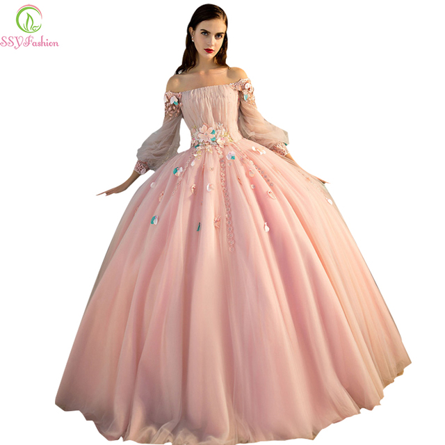71bb0ea8f276 Vestido De Noiva SSYFashion Romantic Flower Fairy Prom Dress Banquet Luxury Long  Sleeves A-line Organza Party Formal Dresses