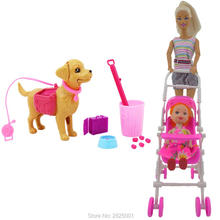 2 Items /Lots Baby Stroller + Dog Pet Sets Dog Food Bones Outside Dollhouse Puppet 1:6 Toys For Barbie Doll Kelly Kid xMas Gifts