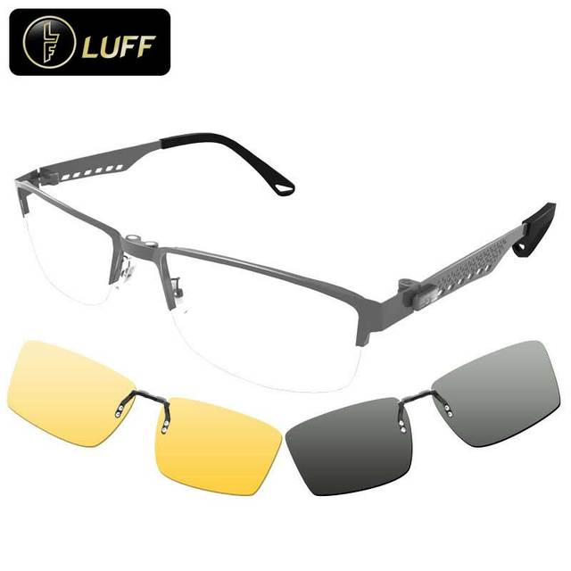 De alta gama de gafas de dioptrías de miopía marco de las lentes miopía marco de los vidrios multifuncionales clip de gafas de sol para los hombres 3 en 1