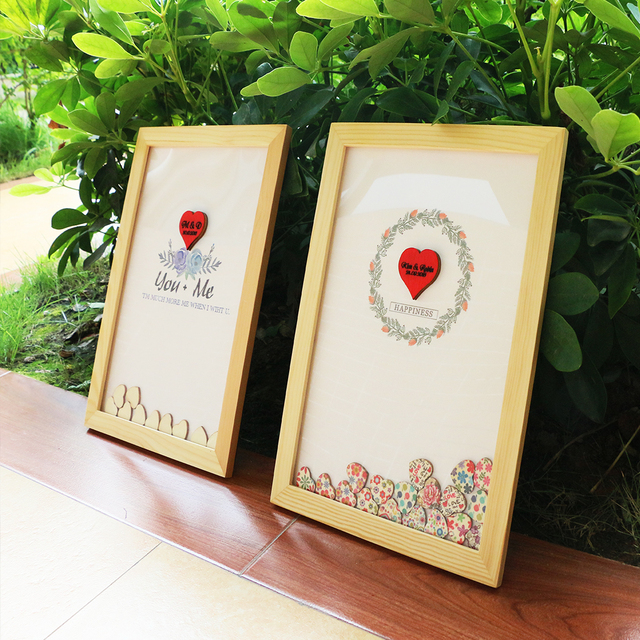 personalised wedding guest book alternative wood heart guest book