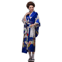 Traditional Lady Japanese Blue Fashion Silk Kimono Gown Yukata With Obi Evening Dress Stage Performance Costumer One Size