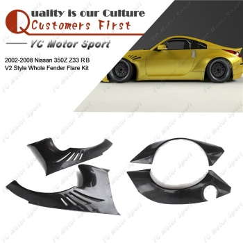 FRP Glasvezel Fender Kit 4 pcs Fit Voor 2002-2008 350Z Z33 RB V2 Stijl + 40mm front & + 80mm Rear Fender Flare Cover