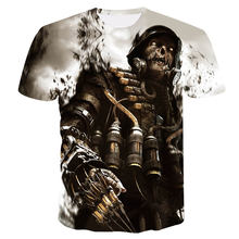2018 New skull 3D Printing T-shirt Men Fitness Compression Shirts Tops Male T-shirt Summer Cool High Street Wear(China)