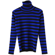 77 fang brand women's girl's autumn winter fashion high quality blue striped cashmere basic turtleneck stretch sweater jumper