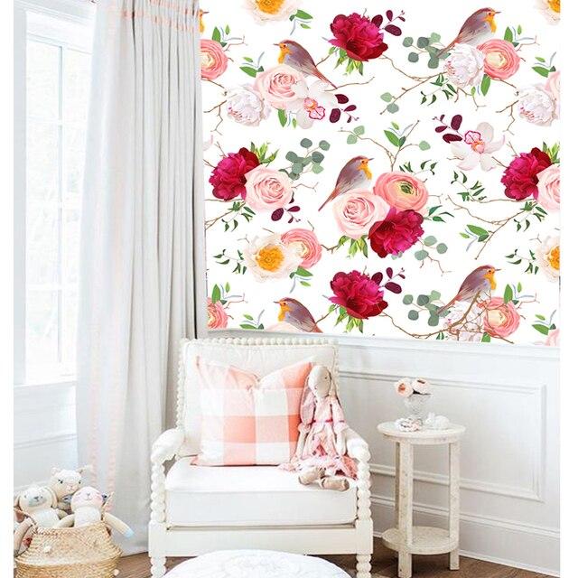 Tuya Art mural papiers 3d romantique soulagement fleurs oiseaux