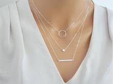 Multi-element Metal Rod Circles Geometric Round Necklaces