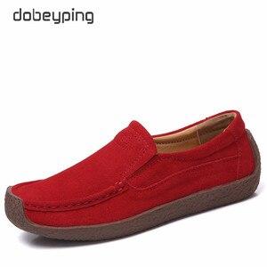 Image 3 - Dobeyping primavera outono sapatos mulher deslizamento em tênis de couro de vaca camurça apartamentos casuais mocassins femininos sapato feminino