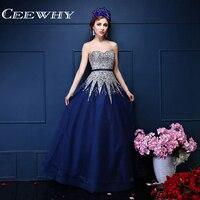 Custom Made Querida Cristal Grande Beading Strapless Luxuoso Vestido de Noite Longo 2017 do baile de Finalistas do Vestido Vestidos de Azul Marinho de Alta Qualidade