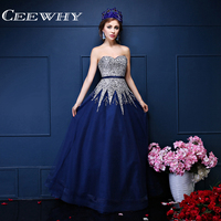 Custom Made Sweetheart Crystal Major Beading Strapless Luxury Long Evening Dress 2017 Prom Gown Dresses High Quality Navy Blue