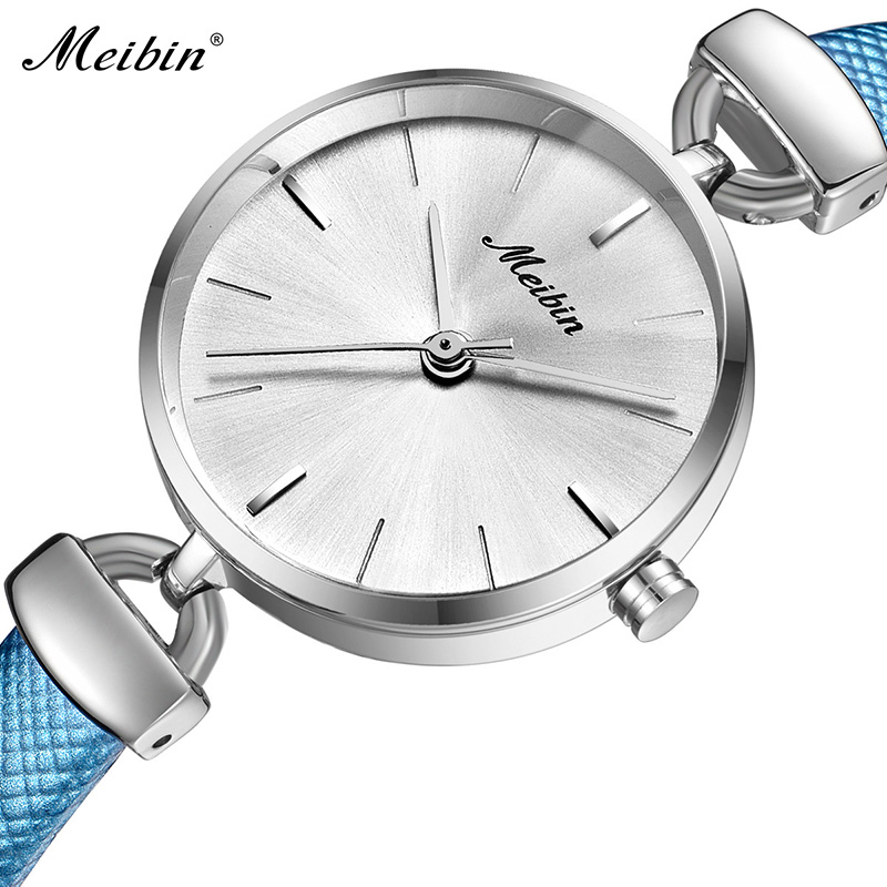 Fashion Meibin Top Brand New And Simple Style Ladies Watches Casual Real Leather Women Quartz Watch Elegant Female Clock Gifts