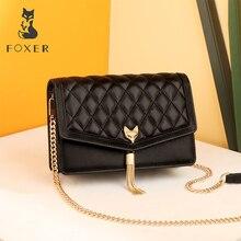 FOXER Brand Women Chain Strap Messenger Bag High Quality Leather Ladies Flap Female Diamond Lattice Evening bag