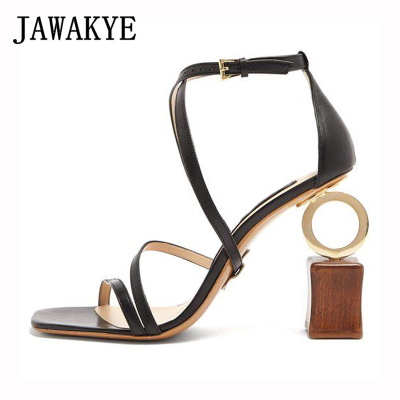 2018 New Hot Building blocks asymmetric Heel Gladiator Sandals Women open toe ankle strap Special high heels Summer party Shoes new sexy strappy strange heel gladiator sandals women open toe buckle high heel shoes asymmetric building block heel party shoes