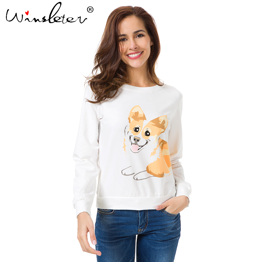 Shop For Cheap New 2019 Corgi Print Hoodie Sweatshirt Women Cute Sweatshirt Tops For Big Women Dog Print Casual O Neck T61206 Bracing Up The Whole System And Strengthening It Women's Clothing
