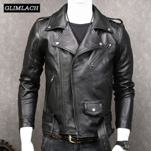 Black Slim Motorcycle Genuine Leather Jacket Coats Men Fashion Sashes Plus Size XXXXXL Real Leather Jackets Luxury Sheepskin New
