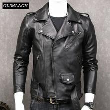 Preto fino motocicleta jaqueta de couro genuíno casacos homens moda faixas plus size xxxxxl jaquetas couro real luxo pele carneiro novo