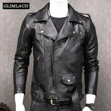 Zwarte Slanke Motorfiets Lederen Jas Jassen Mannen Mode Sjerpen Plus Size Xxxxxl Real Lederen Jassen Luxe Schapenvacht Nieuwe