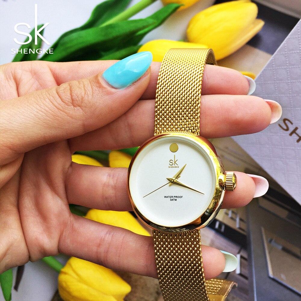 Shengke New Fashion Ladies Quartz Watches Top Brand Watch Stainless Steel Mesh Belt Women's Clock Luxury Gold Women Watches 2017