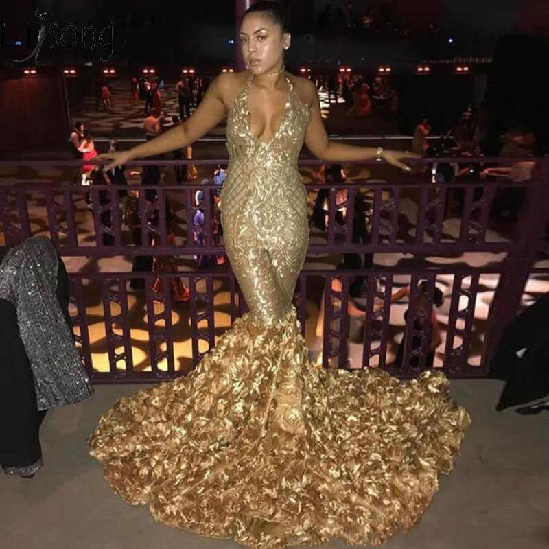 134f79c694 2019 Gold Deep V Neck Sexy Prom Dresses With Rose Train Low Back Mermaid  Evening Gowns Count Train African Vestidos Party Dress
