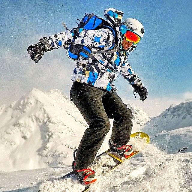 חליפת סקי גברים חורף חם Windproof עמיד למים חיצוני ספורט שלג מעילים ומכנסיים חם סקי ציוד סנובורד מעיל גברים מותג