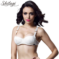 Shitagi White Luxurious Push Up Bra Sexy Women Flower Bra Elegant Bow Smooth Good Touch Lingerie