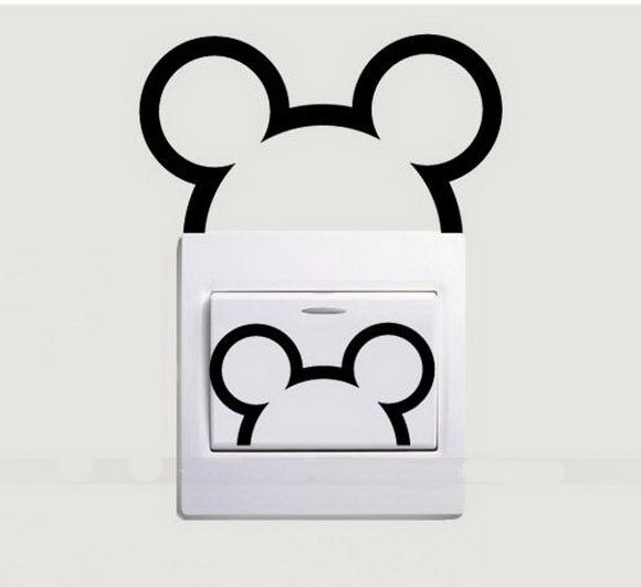 4PCS Vinyl Wall Stickers For Kids Rooms Light Switch Decal Cute Mouse...