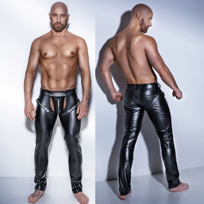 Man's Sexy Erotic Tight Crotchless Leather Latex Porno Pants Costumes For Bar Clubwear Stripper Pole Dance Game Party