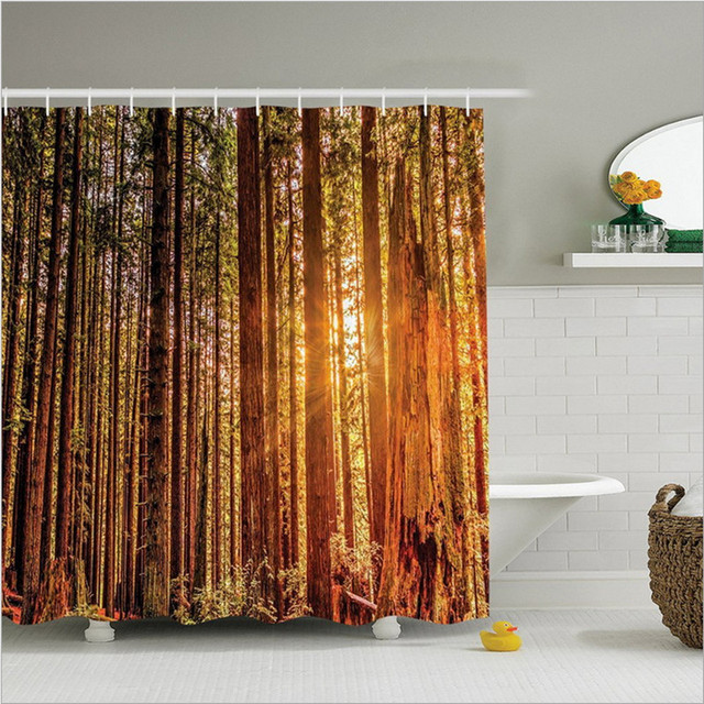 New Style Polyester Waterproof Digital Personality Shower Curtain For Autumn Leaf Household Goods Customization