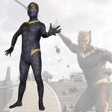 2018 Black Panther Erik Killmonger Superhero Cosplay Bodysuit Spandex Lycra Zentai costume Halloween Party suit free delivery