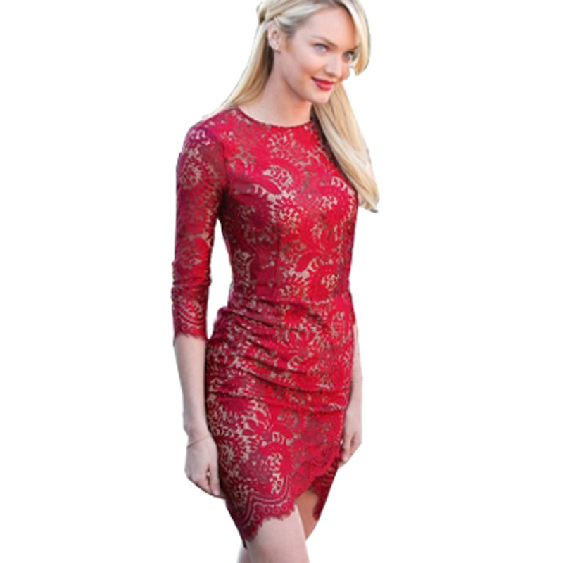 OUFANGMEIYI Store Vintage Elegant Flower Floral Lace Patchwork Half Sleeve Bodycon Dress Sexy Sliming Fitted Sheath Work Business Dresses B205