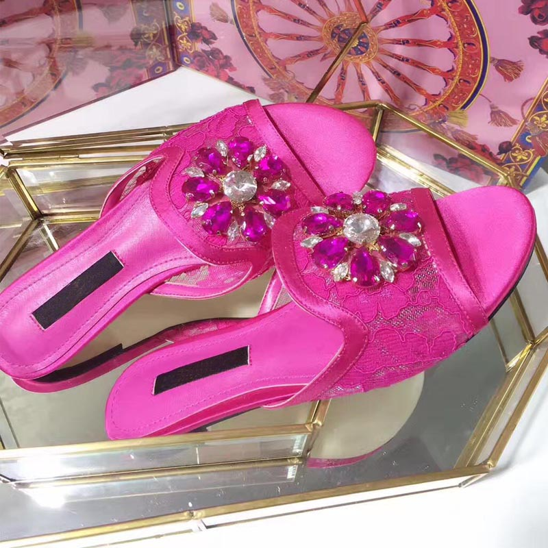 16 Bout Cristal Couleurs As Show Marque Luxe Dentelle Pantoufles D'été as Party Diapositives Show Occasionnels De Femme À Dames Beach Ouvert Strass Sexy Appartements Chaussures r1cnrdPSW