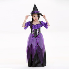 лучшая цена Halloween children cosplay costume  costume  wizard witch acting suits party costume tricky or treat make up dress