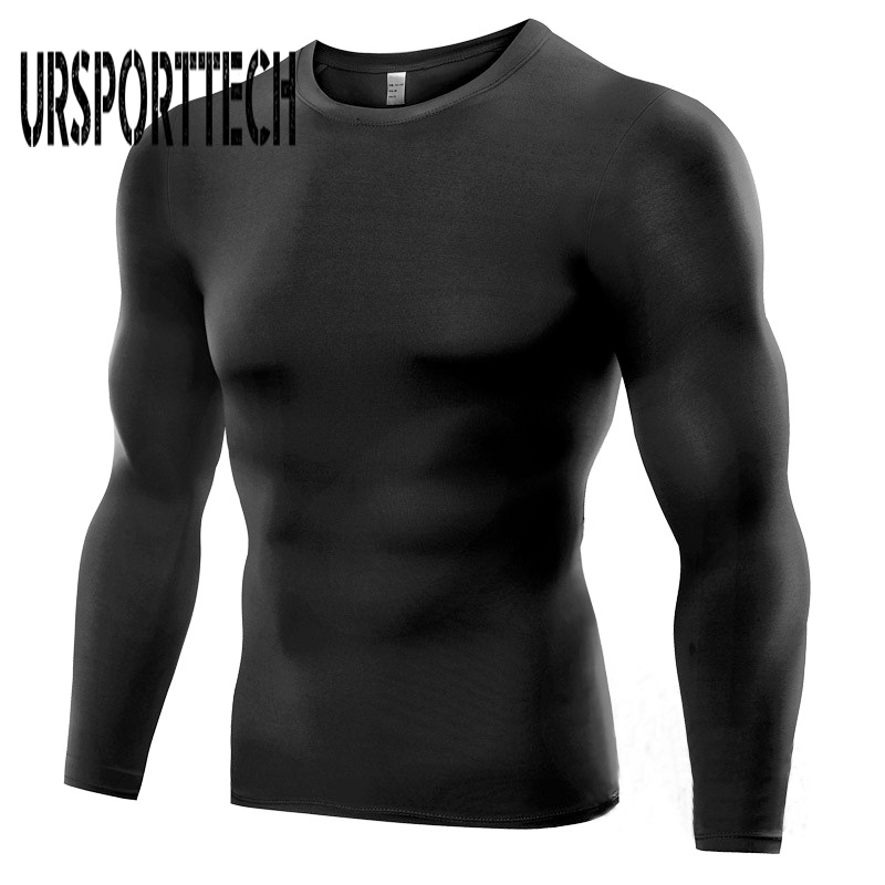 2017 New Quick-Dry Work Out Men T Shirt Long Sleeve T-Shirt Patchwork Shoulder Fast Dry Tops & Tee Shirt Men Plus Size S-3XL