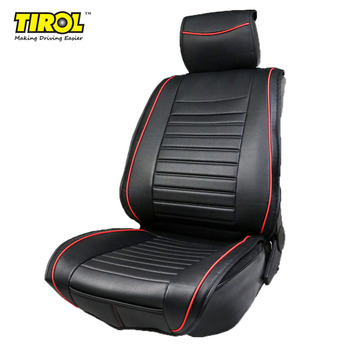TIROL PU Leather Universal Front Single Car Seat Covers Seat Cushion Black Red for SUV Sedans 1 Pack T24092a Free Shipping