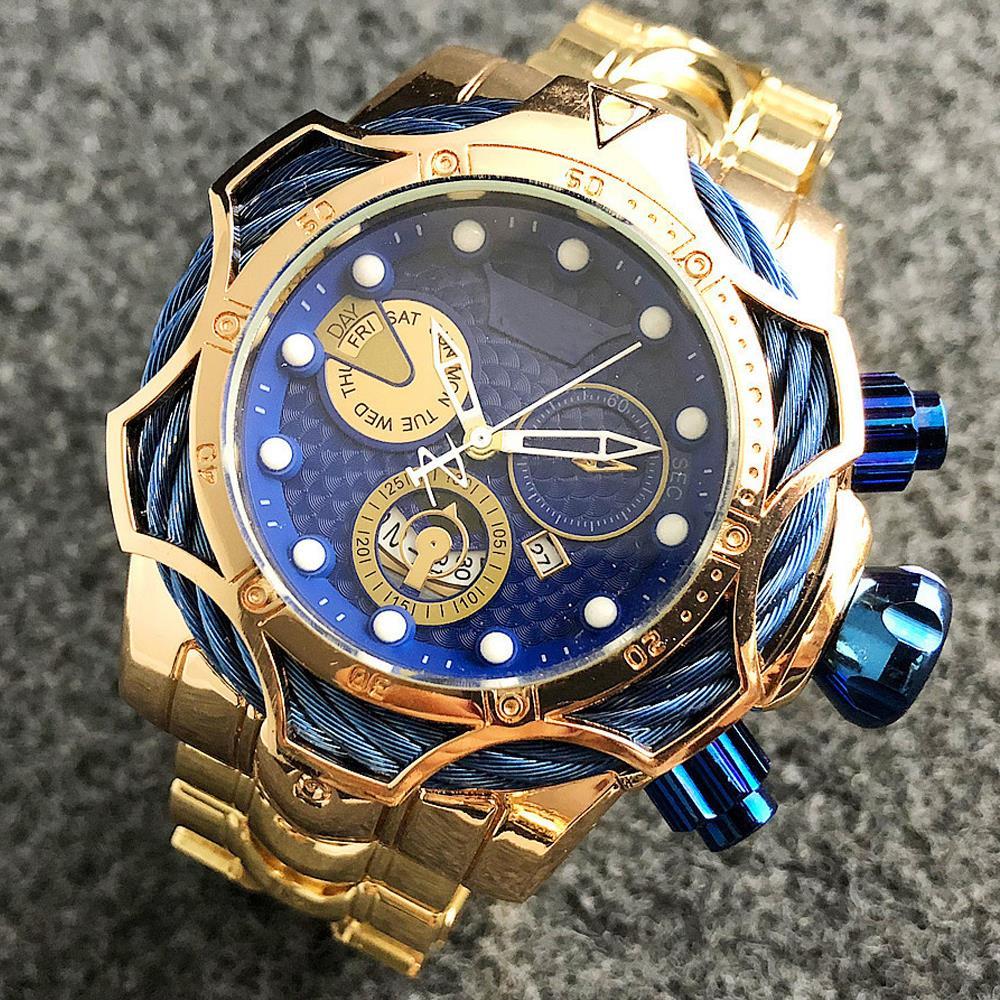 Luxury Brand Design Mens Watches Golden Waterproof Quartz Watches For Men Sport Male Gold Wristwatches Relogio Dourado Masculino
