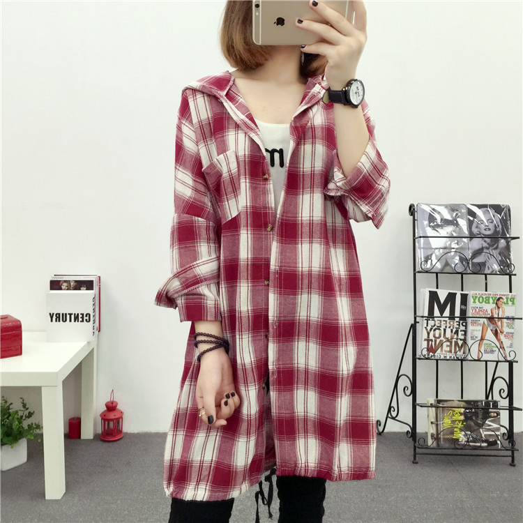 Brand Yan Qing Huan 2018 Spring Long Paragraph Large Size Plaid Shirt Fashion New Women's Casual Loose Long-sleeved Blouse Shirt 23