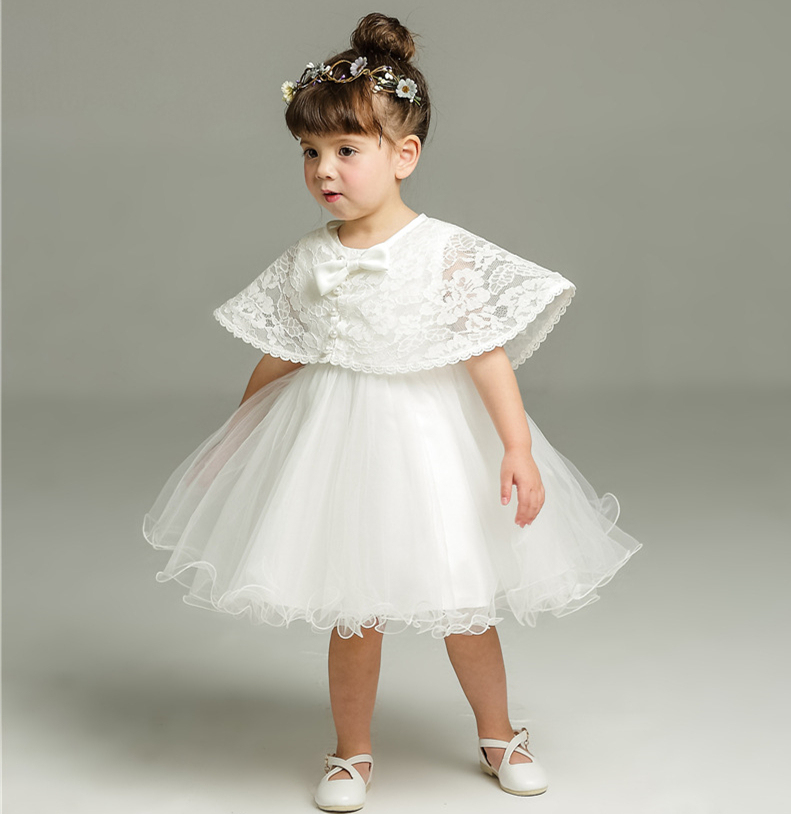 1feda7b8b75fb Baby Princess Dress + Pearl Lace Shawl Infant Toddler White Baptism Dresses  Infant Christening Gown Toddler Dress Girls Clothes