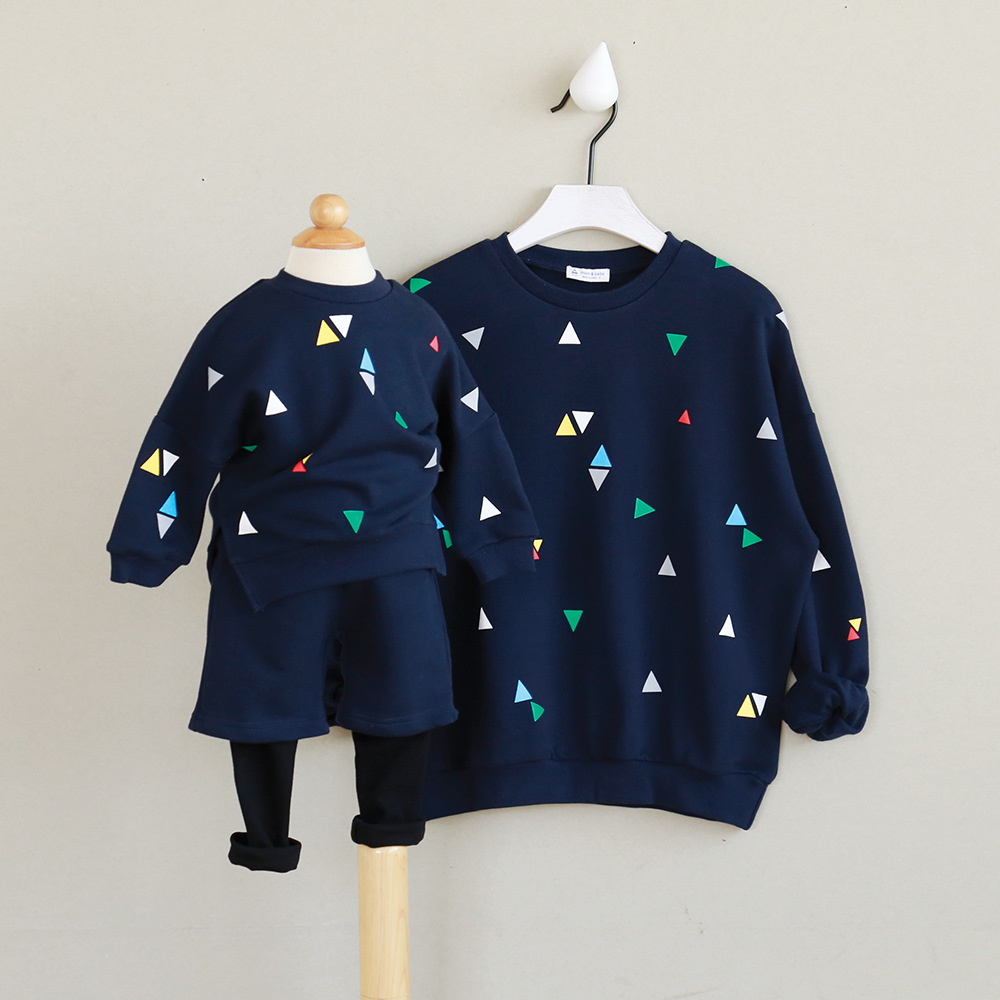 2018 autumn family look long sleeved round neck cotton triangle father mother