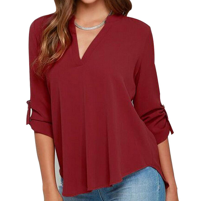 6d26b9681c1 S-XXXXX Plus Size V-neck Long-sleeved Loose Chiffon Shirt 8 size 6 Colors  Women Casual Chiffon Blouse Blusas Femininas BH716
