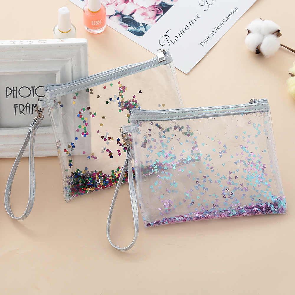 Transparent Glitter Pencil Case Quality PU School Supplies Bts Stationery Gift Pencilcase School Pencil Box Bts School Tools