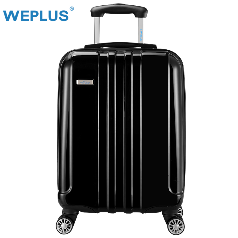 20 inch Classic striped patch Trolley suitcase rolling spinner wheels Pull Rod luggage Women traveller case boarding bag  Black