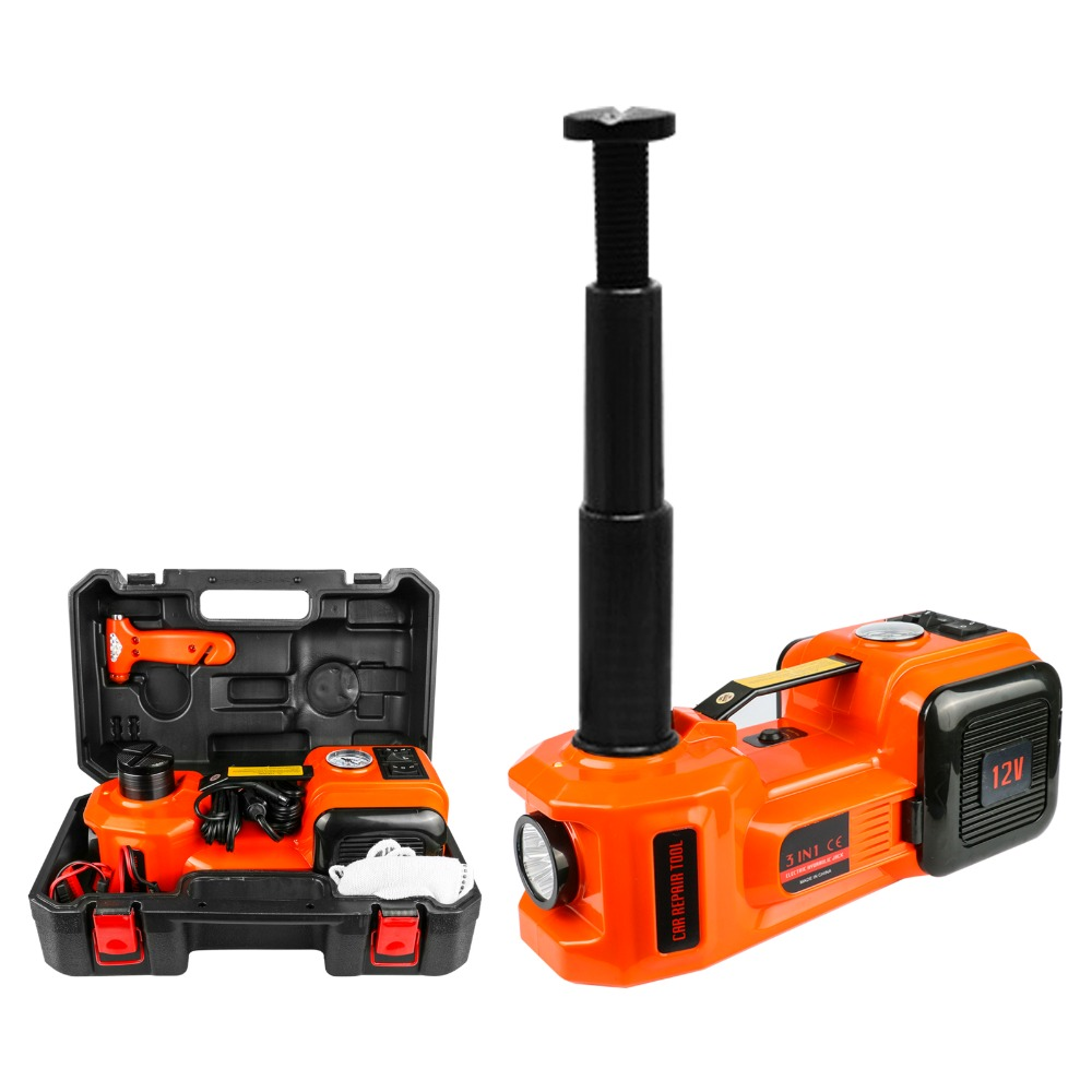12V DC 5.0T (11023lb) Car Jack Electric Hydraulic Floor Jack, Tire Air Pump And LED Flashlight 3-in-1 With Safety Hammer