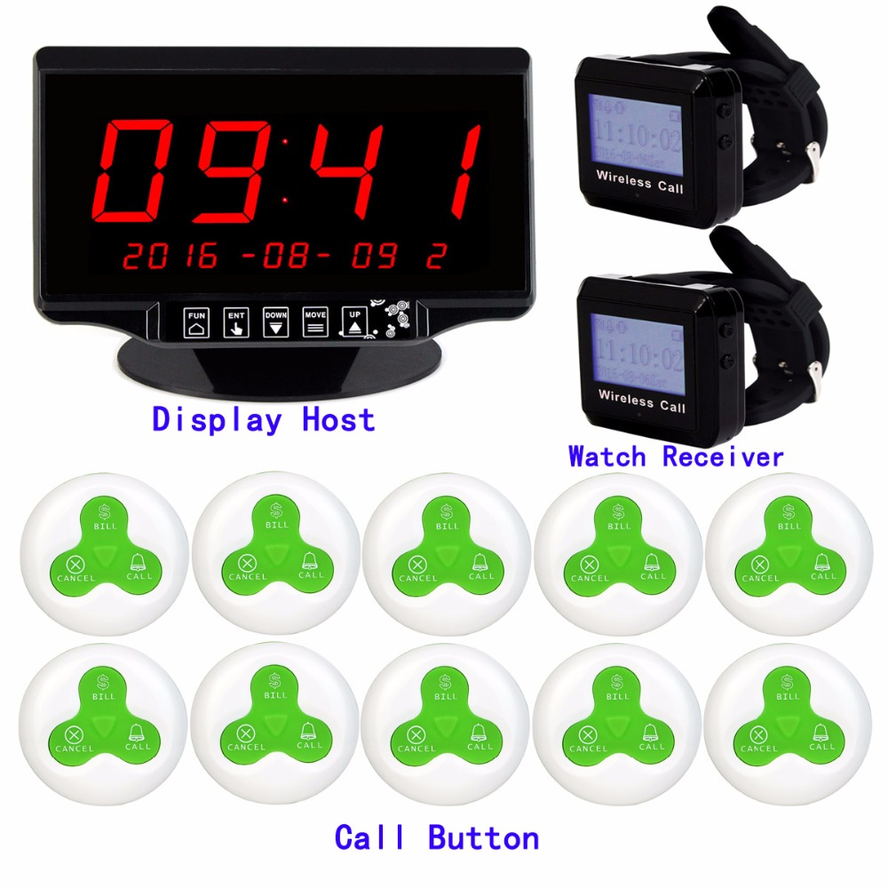 433MHz Wireless Restaurant Cafe Service Calling Paging System Call Pager with Receiver Host Call Transmitter Button F3258 tivdio 433mhz wireless 2 wrist watch receiver 20 calling transmitter button call pager four key pager restaurant equipment f3285