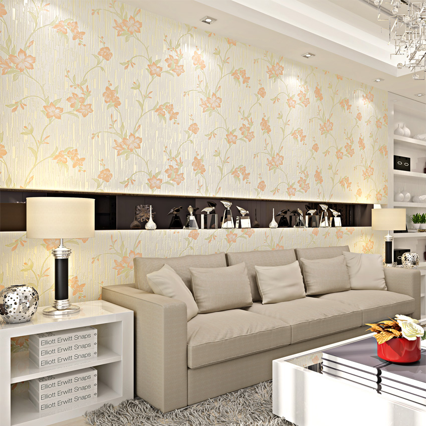 ФОТО PAYSOTA 3D Yellow Flower Pastoral Style Wallpaper Bedroom Living Room TV Setting Non-woven Wall Paper