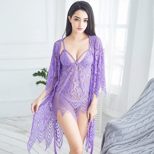 Dropwow Lisacmvpnel 3 Pcs Hollow Sexy Women Robe+Nightgown+G-String ... bf719604b