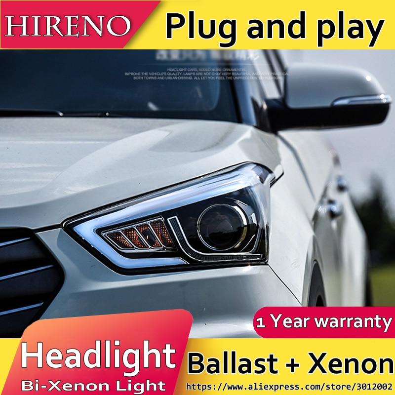 Hireno Headlamp for 2015-2017 Hyundai IX25 Crete Headlight Assembly LED DRL Angel Lens Double Beam HID Xenon 2pcs hireno headlamp for 2012 2014 chevrolet malibu headlight assembly led drl angel lens double beam hid xenon 2pcs