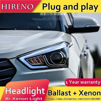 Hireno Headlamp For 2015 2017 Hyundai IX25 Crete Headlight Assembly LED DRL Angel Lens Double Beam
